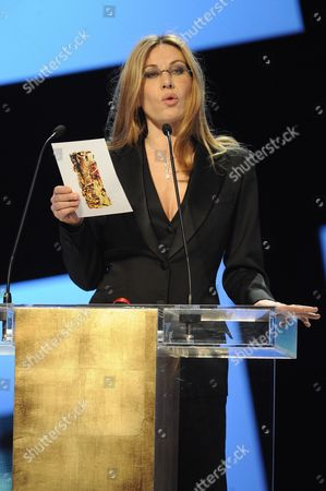 French Actress Mathilde Seigner Speaks on Stage During the 37th Cesar Film Awards at Theatre Du Chatelet in Paris France 24 February 2012 France Paris
