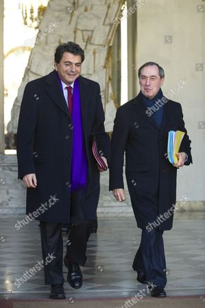 French State Minister For Foreign Trade Pierre Lellouche (l) and French Interior Minister Claude Gueant (r) Leave the Elysee Palace After the Weekly Cabinet Meeting in Paris France 04 January 2012 France Paris