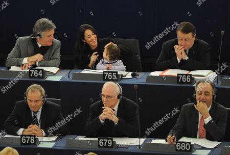 Italian Member of the European Parliament Licia Ronzulli (top C) Takes Part with Her Baby in a Voting Session in the European Parliament in Strasbourg in France 15 February 2012 the Mp's Are to Discuss the Greek Bailout Package Among Others France Strasbourg