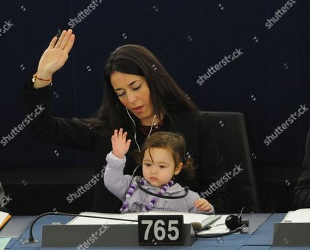 Italian Member of the European Parliament Licia Ronzulli and Her Baby Take Part in a Voting Session in the European Parliament in Strasbourg in France 15 February 2012 the Mp's Are to Discuss the Greek Bailout Package Among Others France Strasbourg