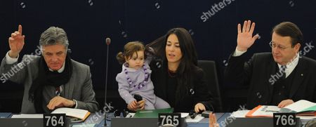 Italian Member of the European Parliament Licia Ronzulli (c) Takes Part with Her Baby in a Voting Session in the European Parliament in Strasbourg in France 15 February 2012 the Mp's Are to Discuss the Greek Bailout Package Among Others France Strasbourg