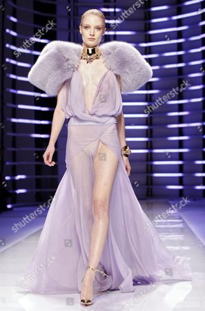 Belarusian Model Olga Sherer Presents a Creation by French Designer Alexandre Vauthier During the Haute Couture Paris Fashion Week in Paris France 24 January 2012 the Presentation of the Spring-summer 2012 Haute Couture Collections Takes Place From 23 to 26 January France Paris