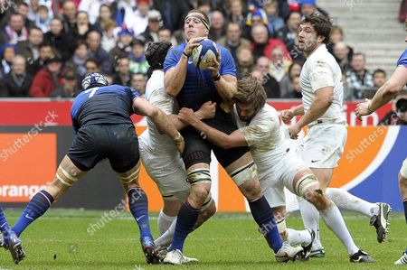 France's Imanol Harinordoquy (c) in Action During the Rugby Six Nations Match Between France and England at Stade De France in Saint-denis Near Paris France 11 March 2012 France Saint-denis