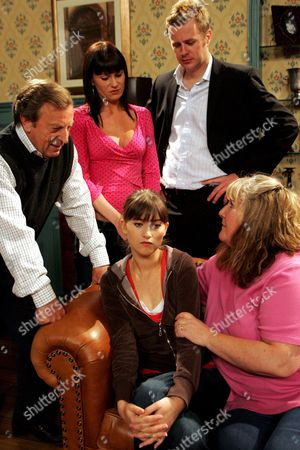 'Emmerdale'   TV Kenneth Farrington, Lucy Pargeter, Tom Lister, Charley Webb and Jane Cox.