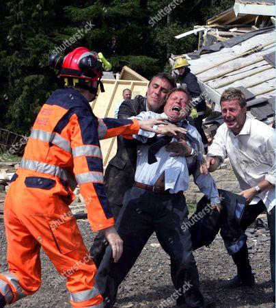 Stock Image of 'Emmerdale'   TV Matt Healy, Kenneth Farrington and Tom Lister