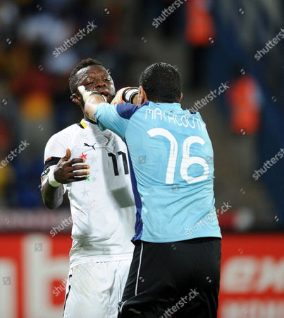 Aymen Mathlouthi of Tunisia Pushes Away Sulley Muntari of Ghana During the Africa Cup of Nations Match Between Ghana and Tunisia in Franceville Gabon 05 February 2012 Ghana Won 2-1 Gabon Franceville