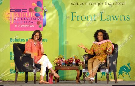 Us Talk Show Host Oprah Winfrey (r) Gestures As She Interacts with Indian Tv Journalist Barkha Dutt During the Jaipur Literature Festival in Jaipur India 22 January 2012 Dsc Jaipur Literature Festival is the Largest Literary Festival in Asia-pacific and the Most Prestigious Celebration of National and International Literature to Be Held in India India Jaipur