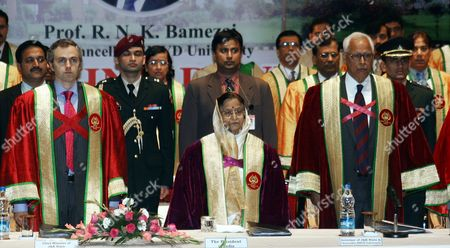 Indian President Pratibha Devisingh Patil (c) Jammu and Kashmir Governor N N Vohra (r) and Chief Minister Omar Abdullah (l) Stand For National Anthem During the Third Convocation of Shri Mata Vaishno Devi University (smvdu) at Katra About 45 Km From the Northern Indian City of Jammu the Winter Capital of Kashmir on 25 November 2011 President Pratibha Patil Will Attend and Addressing Many Functions and Would Also Be Offering Payers at the Vaishno Devi Shrine During Her Three-day Visit to Jammu and Kashmir India Jammu