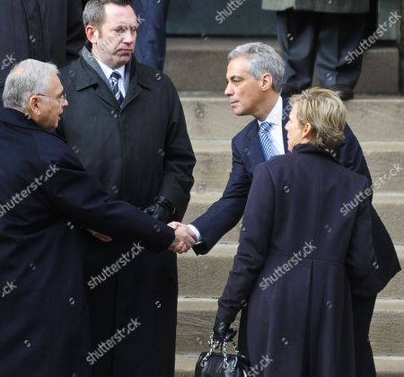 Chicago Mayor Rahm Emanuel (2-r) and His Wife Amy Rule (r) Arrive For Funeral Services For Maggie Daley the Wife of Former Chicago Mayor Richard M Daley at Old St Pat's Church in Chicago Illinois Usa 28 November 2011 Daley Died 24 November After a Long Battle with Cancer Her Husband Served Six Four-year Terms at Mayor of Chicago Following in the Footsteps of His Father Richard J Daley United States Chicago