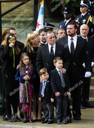 Former Chicago Mayor Richard M Daley (c) Stands with Family Members During Funeral Services For His Wife Maggie Daley at Old St Pat's Church in Chicago Illinois Usa 28 November 2011 Daley Died 24 November After a Long Battle with Cancer Her Husband Served Six Four-year Terms at Mayor of Chicago Following in the Footsteps of His Father Richard J Daley United States Chicago