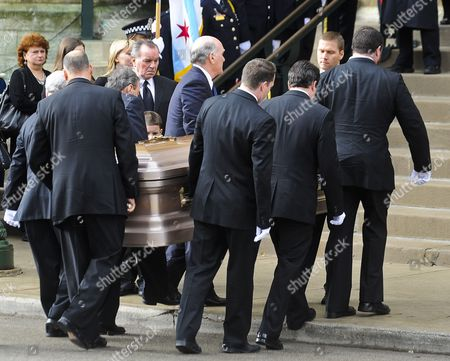 Former Chicago Mayor Richard M Daley (c) Watches As His Wife Maggie Daley's Casket is Carried to Old St Pat's Church in Chicago Illinois Usa 28 November 2011 Daley Died 24 November After a Long Battle with Cancer Her Husband Served Six Four-year Terms at Mayor of Chicago Following in the Footsteps of His Father Richard J Daley United States Chicago