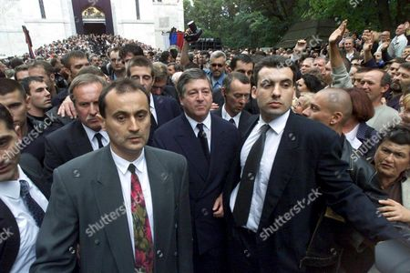 Topola Serbia Yugoslavia: Exiled Crown Prince Alexander Karadjordjevic of Yugoslavia (front Centre/left) who Lives in London Leaves the Royal Mausoleum at Oplenac Near Topola After the Funeral Ceremony of His Uncle Prince Tomislav Karadjordjevic Sunday 16 July 2000 Prince Tomislav Died of Cancer at the Age of 72 on Wednesday at Topola the Familys Former Summer Residence