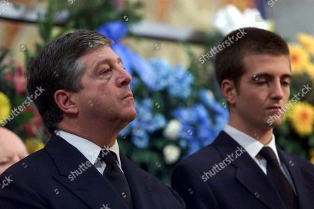 Topola Yugoslavia: Crown Prince Alexander Karadjordjevic of Yugoslavia (l) who Lives in Exile in London and His Eldest Son Petar (r) Attend the Funeral Service of Prince Tomislav Karadjordjevic Member of the Serbian Royal Family in King Petar i Karadjordjevic Memorial Monastery in Oplenac Near Topola Some 70 Km South of Belgrade on Sunday 16 July 2000 Prince Karadjordjevic the Uncle of Crown Prince Alexander Died of Cancer at the Age of 72 on Wednesday 12 July