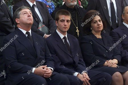 Topola-yugoslavia: Crown Prince Alexander Karadjordjevic of Yugoslavia (l) who Lives in Exile in London His Eldest Son Petar (c) and His Wife Katarina (r) Attend the Funeral Service of Prince Tomislav Karadjordjevic Member of Serbian Royal Family in King Petar i Karadjordjevic Memorial Monastery in Oplenac Near Topola Some 70 Km South of Belgrade on Sunday 16 July 2000 Prince Karadjordjevic the Uncle of Crown Prince Alexander Died of Cancer at the Age of 72 on Wednesday 12 July