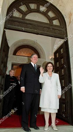 Belgrade Serbia Yugoslavia : Yugoslavias Crown Prince Alexander Ii Karadjordjevic and His Wife Katarina Greet the Media in Front of Their New Home in Belgrade on Wednesday 18 July 2001 Alexander Ii who Has Been Living in Serbia Since the Reformist Authorities Restored His Citizenship in March Received the Keys to Two Ancestral Palaces in Belgrade From Outgoing Prime Minister Zoran Zizic on Tuesday 17 July 2001