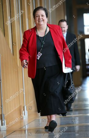 Jackie Baillie makes her way to the Debating Chamber