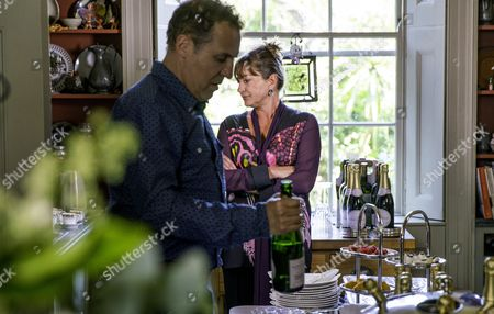 EPISODE 1 - Pictured: Nigel Lindsay as Tony and Holly Aird as Elise.