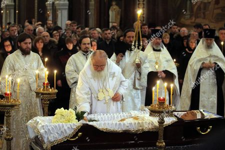 Russian Orthodox Church Patriarch of Moscow and all Russia Kirill (R) conducts a memorial service for killed Russian ambassador to Turkey, Andrey Karlov, at the Christ the Savior Cathedral, in Moscow, Russia