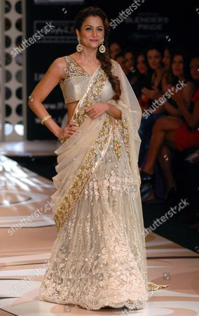 Stock Image of Bollywood Actress Amrita Arora Khan Presents a Creation by Indian Designer Vikram Phadnis at the Lakme Fashion Week (lfw) in Mumbai India 02 March 2012 Some 83 Designers Are Showcasing Their Collections at the Lfw Summer/resort 2012 Until 06 March India Mumbai