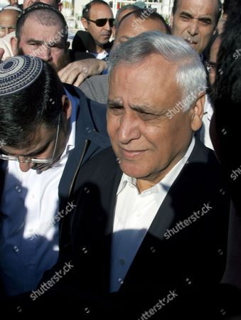 Former Israeli President Moshe Katsav (r) with Supporters As He Leaves His Home in Kiryat Malachi Israel 07 December 2011 to Go to Prison For Rape Conviction Katsav Has Been Sentenced to Seven Years For Rape and Sexual Assault and Continues to Declare His Innocence Israel Kiryat Malachi