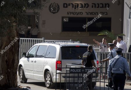 Stock Photo of A Car Transporting Former Israeli President Moshe Katsav Arrives at a Prison in Ramle Outside Tel Aviv 07 December 2011 Katsav was Sentenced to Seven Years in Jail After He Had Previously Been Found Guilty of Rape and Other Sexual Offenses Israel Ramle