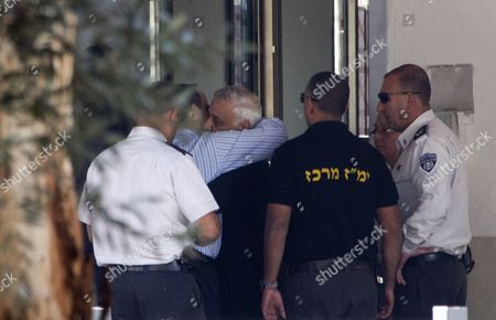 Former Israeli President Moshe Katsav Hugs One of His Sons As He Enters a Prison in Ramle Outside Tel Aviv Israel 07 December 2011 Katsav was Sentenced to Seven Years in Jail After He Had Previously Been Found Guilty of Rape and Other Sexual Offenses Israel Ramle