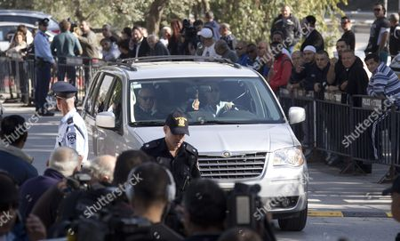 A Car Transporting Former Israeli President Moshe Katsav Arrives at a Prison in Ramle Outside Tel Aviv 07 December 2011 Katsav was Sentenced to Seven Years in Jail After He Had Previously Been Found Guilty of Rape and Other Sexual Offenses Israel Ramle