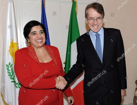 Italian Foreign Ministry Giulio Terzi Di Sant 'Agata (r) Meets His Cypriot Counterpart Erato Kozakou-marcoullis at the Foreign Ministry in Rome Italy 13 March 2012 Italy Rome