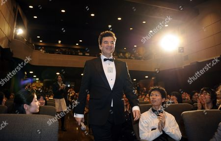 Stock Picture of Oscar-winner French Composer Ludovic Bource Arrives at a Press Event Promoting Michel Hazanavicius' Latest Movie 'The Artist' in Tokyo Japan 08 March 2012 'The Artist' Will Be Screened Across Japan From 07 April Japan Tokyo