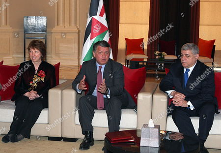 Stock Picture of Jordanian King Abdullah Ii (c) Meets with High Representative of the European Union For Foreign Affairs and Security Policy Catherine Ashton (l) and Jordanian Prime Minister Awn Khasawneh (r) During the First Meeting of Eu-jordan Task Force to Support the Ongoing Reforms in Jordan Dead Sea Jordan 22 February 2012 the Task Force is Meant to Demonstrate the Union's Determination to Support Jordan on Its Process of Democratic Reforms This is the Second Task Force in the Southern Mediterranean Since the Arab Spring with First Held in Tunis in September 2011 Jordan Dead Sea