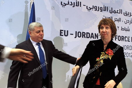 Jordanian Prime Minister Awn Khasawneh (l) and High Representative of the European Union For Foreign Affairs and Security Policy Catherine Ashton (r) Are Seen During the Opening Session of First Meeting of Eu-jordan Task Force to Support the Ongoing Reforms in Jordan Dead Sea Jordan 22 February 2012 the Task Force is Meant to Demonstrate the Union's Determination to Support Jordan on Its Process of Democratic Reforms This is the Second Task Force in the Southern Mediterranean Since the Arab Spring with First Held in Tunis in Septeber 2011 Jordan Dead Sea