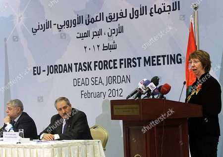 Stock Image of Jordanian Prime Minister Awn Khasawneh (l) and Jordanian Foreign Minister Nasser Judeh (2-l) Listen to High Representative of the European Union For Foreign Affairs and Security Policy Catherine Ashton As She Speaks During the First Meeting of Eu-jordan Task Force to Support the Ongoing Reforms in Jordan Dead Sea Jordan 22 February 2012 the Task Force is Meant to Demonstrate the Union's Determination to Support Jordan on Its Process of Democratic Reforms This is the Second Task Force in the Southern Mediterranean Since the Arab Spring with First Held in Tunis in September 2011 Jordan Dead Sea