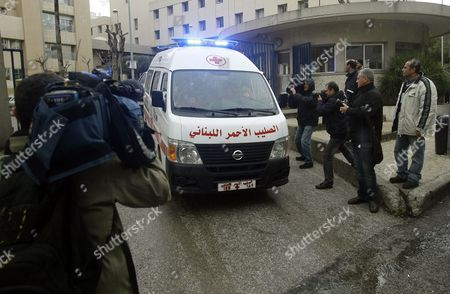 Stock Picture of A Convoy Transporting French Journalists Edith Bouvier and William Daniels Leaves Hotel Dieu Hospital to the Beirut Airport in Beirut Lebanon 02 March 2012 According to a French Embassy Spokesman a Private Plane Transporting the Journalists Left Beirut For Paris a Day After Their Evacuation From Syria to Lebanon Lebanon Beirut