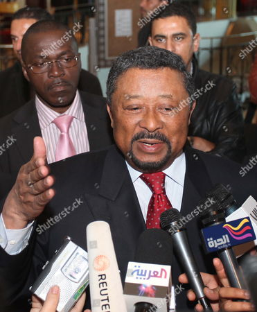 Jean Ping African Union Commission Chairperson(c) Speaks to the Media in Tripoli Libya 16 January 2012 Ping Arrived in Tripoli on an Official Visit Libyan Arab Jamahiriya Tripoli