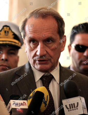 French Defence Minister Gerard Longuet Talks to the Media After His Meeting with Chairman of Libya's National Transitional Council (tnc) Mustafa Abdel Jalil (not Pictured) in Tripoli Libya 25 February 2012 Longuet is on an Official Visit to Libya Libyan Arab Jamahiriya Tripoli