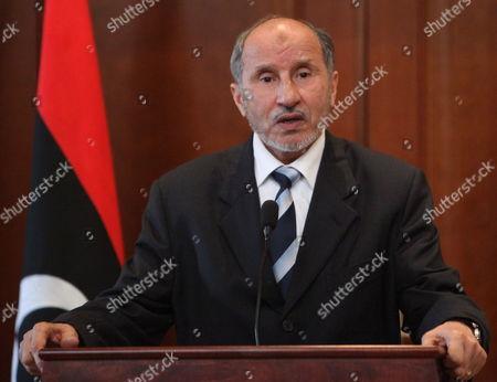 Chairman of Libya's National Transitional Council (tnc) Mustafa Abdel Jalil Addresses a Press Conference in Tripoli Libya 25 February 2012 Libyan Arab Jamahiriya Tripoli
