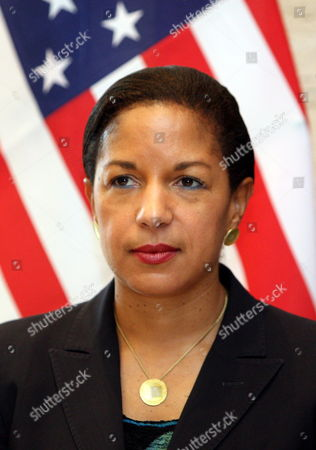 Us Ambasador to the Un Susan Rice Poses For a Photograph During a Visit in Tripoli Libya 21 November 2011 Rice Visit Comes a Day After Libyan Fighters Have Captured Former Intelligence Chief Abdullah Al-senussi on 19 November 2011 in the Southwestern Part of the Country One Day After the Fugitive Son of Slain Leader Muamar Gaddafi was Arrested Al-senussi who Has Been Intelligence Chief Until Gaddafi's Final Days was Arrested in His Sister's House Near the Southwestern City of Sabha Said Abdul Hafiz Ghoga Vice Chairman of the Ruling National Transitional Council Libyan Arab Jamahiriya Tripoli