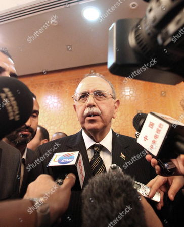 Libya's Prime Minister Designate Abdurrahim El-keib Speaks During a News Conference After Taking the Oath of Office For the New Government in Tripoli Libya 24 November 2011 Libyan Arab Jamahiriya Tripoli