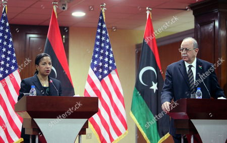 Us Ambasador to the Un Susan Rice (l) and Libyan Interim Prime Minister Abdel-rahim Al-keeb (r) Address a Join Press Conference in Tripoli Libya 21 November 2011 Rice Visit Comes a Day After Libyan Fighters Have Captured Former Intelligence Chief Abdullah Al-senussi on 19 November 2011 in the Southwestern Part of the Country One Day After the Fugitive Son of Slain Leader Muamar Gaddafi was Arrested Al-senussi who Has Been Intelligence Chief Until Gaddafi's Final Days was Arrested in His Sister's House Near the Southwestern City of Sabha Said Abdul Hafiz Ghoga Vice Chairman of the Ruling National Transitional Council Libyan Arab Jamahiriya Tripoli