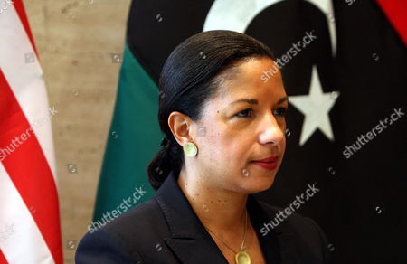 Stock Image of Us Ambasador to the Un Susan Rice Looks on During a Visit in Tripoli Libya 21 November 2011 Rice Visit Comes a Day After Libyan Fighters Have Captured Former Intelligence Chief Abdullah Al-senussi on 19 November 2011 in the Southwestern Part of the Country One Day After the Fugitive Son of Slain Leader Muamar Gaddafi was Arrested Al-senussi who Has Been Intelligence Chief Until Gaddafi's Final Days was Arrested in His Sister's House Near the Southwestern City of Sabha Said Abdul Hafiz Ghoga Vice Chairman of the Ruling National Transitional Council Libyan Arab Jamahiriya Tripoli