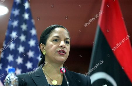 Us Ambasador to the Un Susan Rice Speaks During a Join Press Conference with Libyan Interim Prime Minister Abdel-rahim Al-keeb (no Pictured) in Tripoli Libya 21 November 2011 Rice Visit Comes a Day After Libyan Fighters Have Captured Former Intelligence Chief Abdullah Al-senussi on 19 November 2011 in the Southwestern Part of the Country One Day After the Fugitive Son of Slain Leader Muamar Gaddafi was Arrested Al-senussi who Has Been Intelligence Chief Until Gaddafi's Final Days was Arrested in His Sister's House Near the Southwestern City of Sabha Said Abdul Hafiz Ghoga Vice Chairman of the Ruling National Transitional Council Libyan Arab Jamahiriya Tripoli