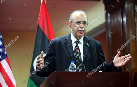 Libyan Interim Prime Minister Abdel-rahim Al-keeb Speaks During a Join Press Conference with Us Ambassador to the United Nations Susan Rice (not Pictured)in Tripoli Libya 21 November 2011 Rice Visit Comes a Day After Libyan Fighters Have Captured Former Intelligence Chief Abdullah Al-senussi on 19 November 2011 in the Southwestern Part of the Country One Day After the Fugitive Son of Slain Leader Muamar Gaddafi was Arrested Al-senussi who Has Been Intelligence Chief Until Gaddafi's Final Days was Arrested in His Sister's House Near the Southwestern City of Sabha Said Abdul Hafiz Ghoga Vice Chairman of the Ruling National Transitional Council Libyan Arab Jamahiriya Tripoli