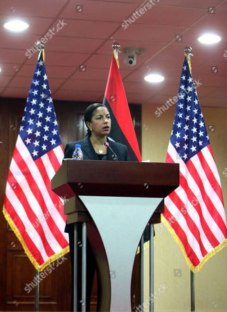 Stock Picture of Us Ambasador to the Un Susan Rice (l) Speaks During a Join Press Conference with Libyan Interim Prime Minister Abdel-rahim Al-keeb (no Pictured) in Tripoli Libya 21 November 2011 Rice Visit Comes a Day After Libyan Fighters Have Captured Former Intelligence Chief Abdullah Al-senussi on 19 November 2011 in the Southwestern Part of the Country One Day After the Fugitive Son of Slain Leader Muamar Gaddafi was Arrested Al-senussi who Has Been Intelligence Chief Until Gaddafi's Final Days was Arrested in His Sister's House Near the Southwestern City of Sabha Said Abdul Hafiz Ghoga Vice Chairman of the Ruling National Transitional Council Libyan Arab Jamahiriya Tripoli