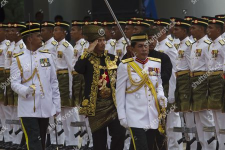 The Outgoing 13th Malaysian King Sultan Mizan Zainal Abidin (c) Inspects Guard of Honor During the Official Farewell Ceremony at Parliament Square Kuala Lumpur Malaysia 12 December 2011 Sultan Mizan Zainal Abidin Ends His Term to Make Way For Next Monarch After Completed a Five-year Rotation Period Malaysia Kuala Lumpur
