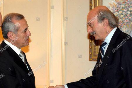 Lebanon's Druze leader Walid Jumblatt congratulates President Michel Suleiman.