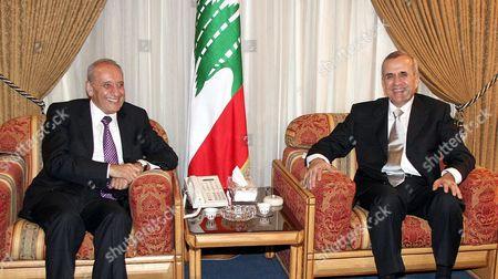 Lebanese Parliament Speaker Nabih Berri congratulates President Michel Suleiman.