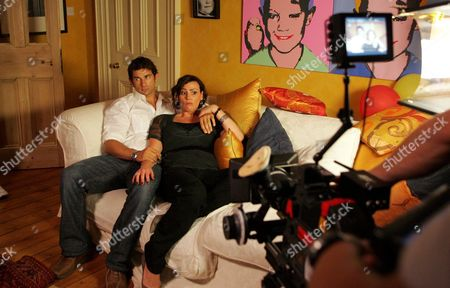 Stock Image of 'Strictly Confidential'   TV Behind the scenes filming with Linda (Suranne Jones) and Richard (Cristian Solimeno)