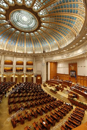 A General View Shows the Half Empty Parliament During the Investiture Procedures For New Romanian Prime Minister Mihai Razvan Ungureanu in Bucharest Romania 09 February 2012 the Opposition Boycotted the Vote Ungureanu Former Head of Romanian Foreign Intelligence Service (sie) Named His Cabinet on 08 February Replacing Almost All Ruling Party Ministers in an Attempt to Make a Clean Break From His Predecessor Emil Boc who Quit Due to a Series of Protests Against Austerity Measures Romania Bucharest