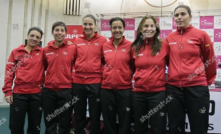 Spain Team Players (l to R) Nuria Llagostera Vives Carla Suarez Navarro Arantxa Parra Silvia Soler Arantxa Sanchez Vicario Team Captain and Maria Jose Martinez Sanchez Posses For Press After Their Training Session Ahead of the Tennis Federation Cup Russia Vs Spain Quarterfinal Match in Moscow Russia 01 February 2012 Russia Will Take on Spain in the Tennis Fed Cup on 04 and 05 February Russian Federation Moscow
