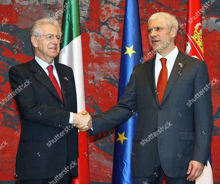 Serbian President Boris Tadic (r) Shakes Hands with Italian Prime Minister Mario Monti (l) Ahead of Their Talks in Belgrade Serbia 08 March 2012 the Second Political and Business Summit Serbia-italy Takes Place in Belgrade with the Participation of Serbian President Boris Tadic and the Two Countries' Prime Ministers Mirko Cvetkovic and Mario Monti Serbia and Montenegro Belgrade